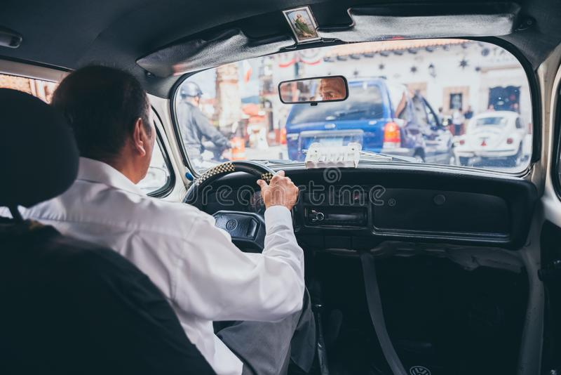MEXICO - SEPTEMBER 22: Inside of a volkswagen taxi in the cente stock image