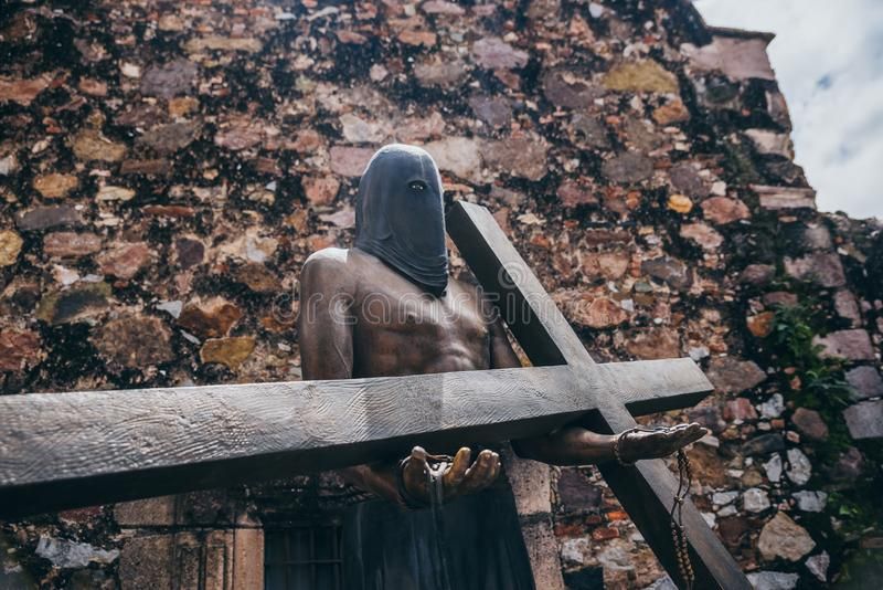 MEXICO - SEPTEMBER 22: Religious statue of a man with a hood ca royalty free stock image