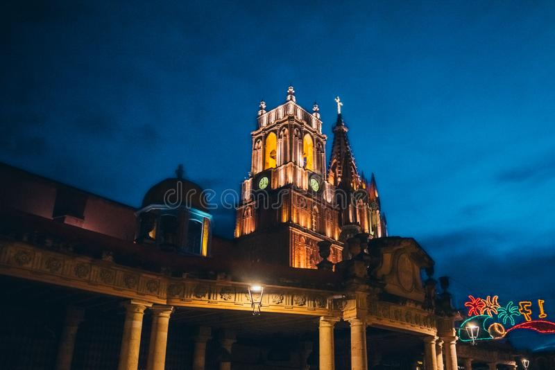 MEXICO - SEPTEMBER 27: Town Cathedral illuminated at night , Sep. Tember 27, 2017 in San Miguel de Allende, Mexico royalty free stock photography