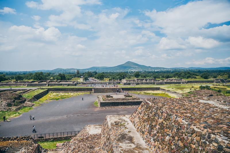 MEXICO - SEPTEMBER 21: View of Teotihuacan from the lower levels of the Pyramid of the Sun stock image