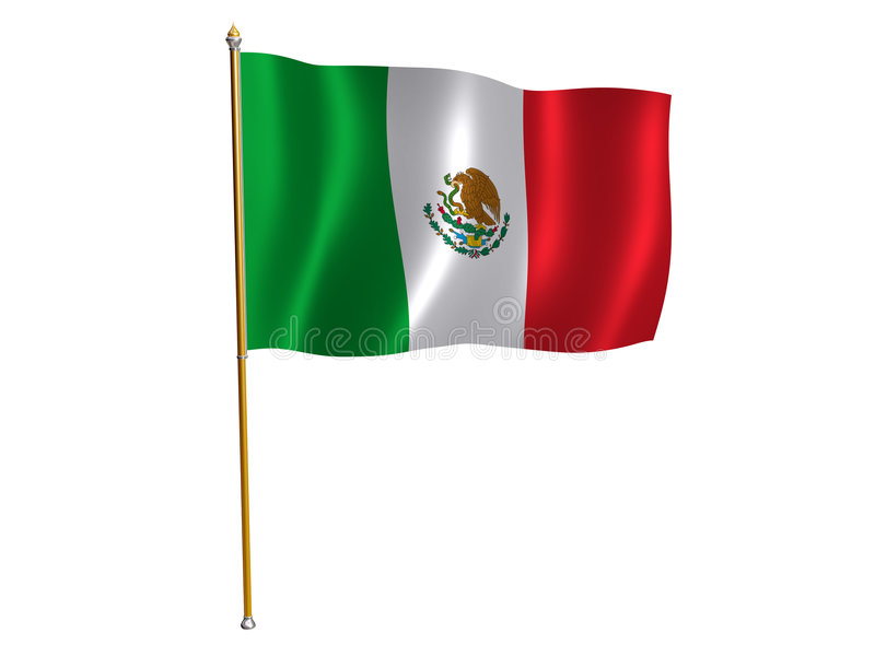 Mexico silk flag. Silk flag of Mexico vector illustration