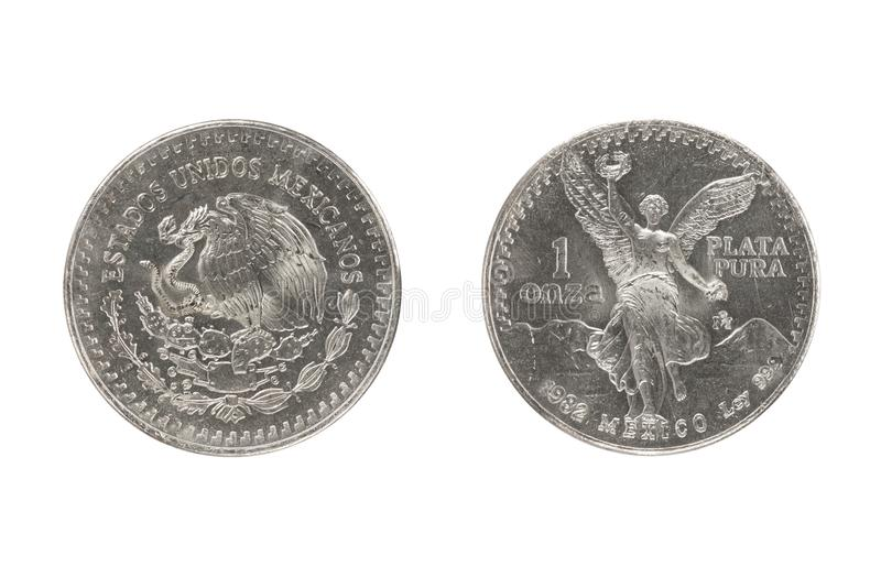 Mexico silvermynt 1oz 1982 royaltyfri bild