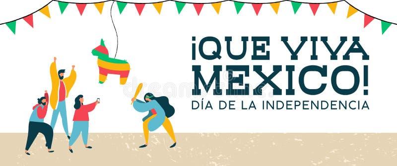 Mexico självständighetbaner av det mexikanska pinatapartiet vektor illustrationer