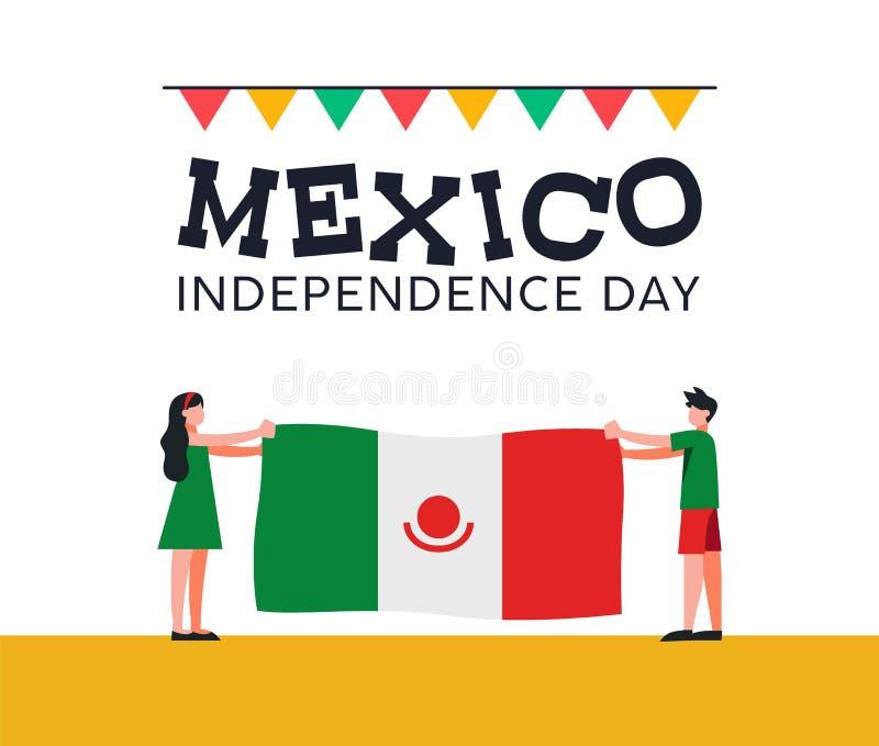Mexico självständighetsdagenvänner med den mexikanska flaggan vektor illustrationer