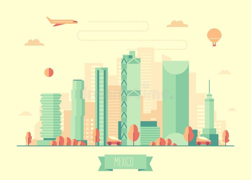 Mexico skyline vector illustration flat design. Mexico skyline architecture vector illustration with plane cars and air balloon flat design vector illustration