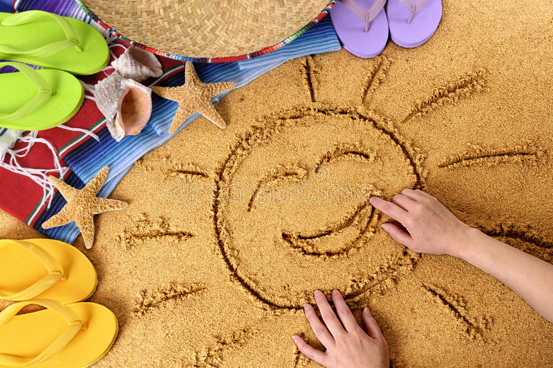 Mexico smiling beach summer sun stock image