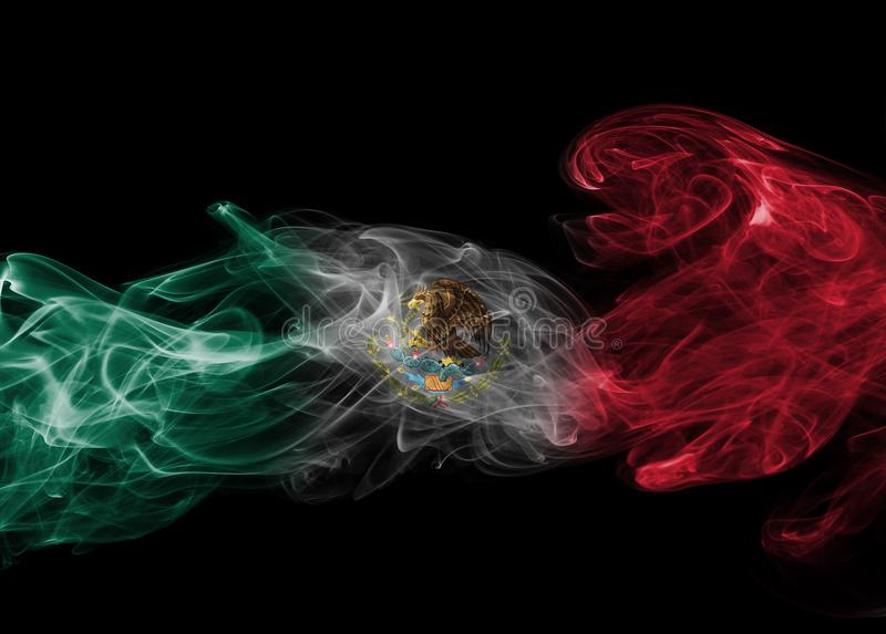 Mexico national smoke flag. Mexico smoke flag isolated on a black background stock photos