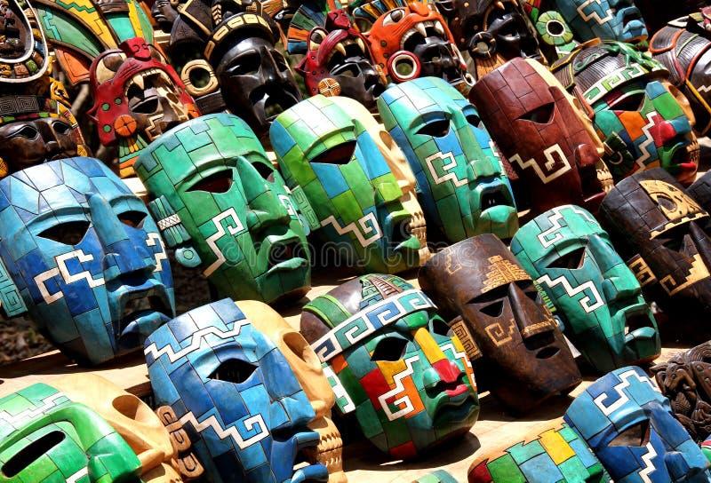 Mexico Souvenir masks. Many Colorfull Mexico Souvenir masks stock photos