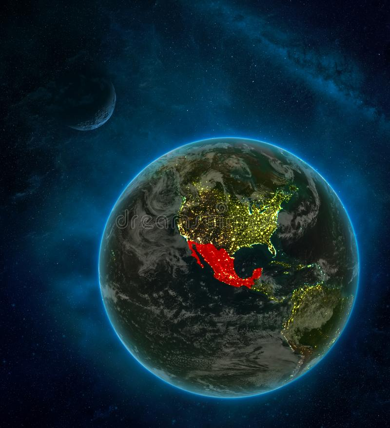 Mexico from space on Earth at night surrounded by space with Moon and Milky Way. Detailed planet with city lights and clouds. 3D. Illustration. Elements of this stock illustration
