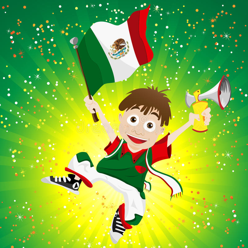 Download Mexico Sport Fan With Flag And Horn Stock Vector - Illustration: 24862858