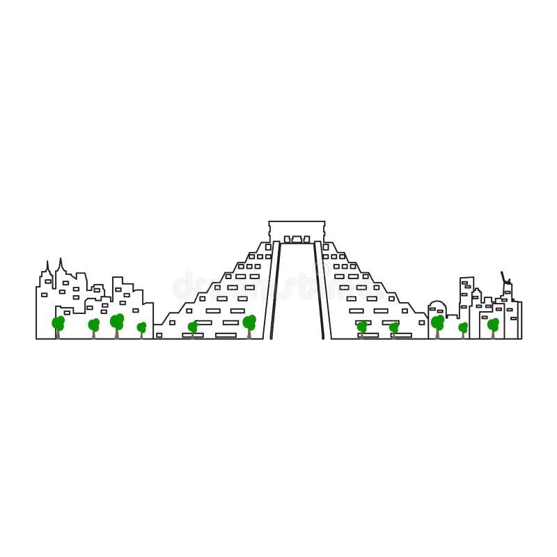 Mexico - stadsCityscape stock illustrationer