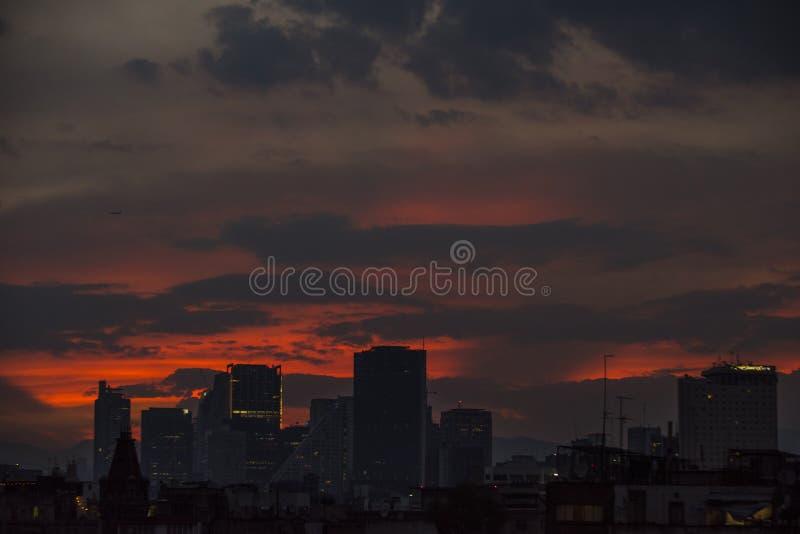 Mexico - stadsskymning fotografering för bildbyråer