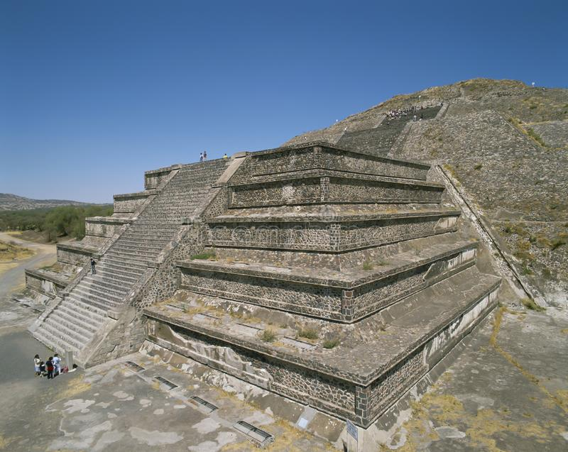 MEXICO, TEOTITHUACAN. The Moon Pyramid.Teotihuacan is a vast Mexican archaeological complex northeast of Mexico City. Running down the middle of the site, which stock image