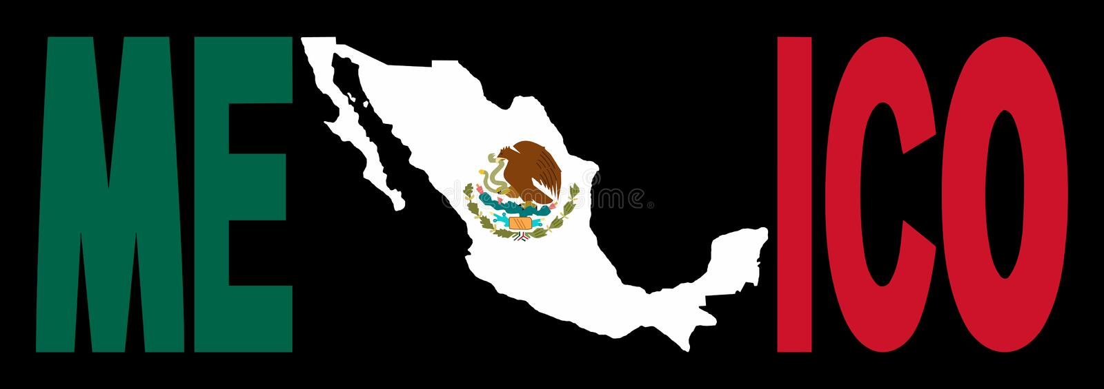 Download Mexico Text With Map On Flag Stock Vector - Illustration: 5248825