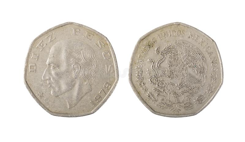 Mexico tio Pesos mynt arkivfoto