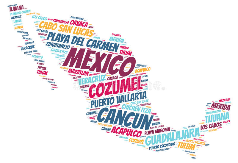 Mexico top travel destinations word cloud. Mexico map silhouette word cloud with most popular travel destinations royalty free illustration