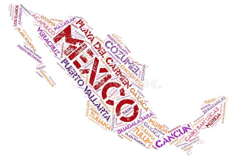 Mexico top travel destinations word cloud. Mexico map silhouette word cloud with most popular travel destinations stock illustration