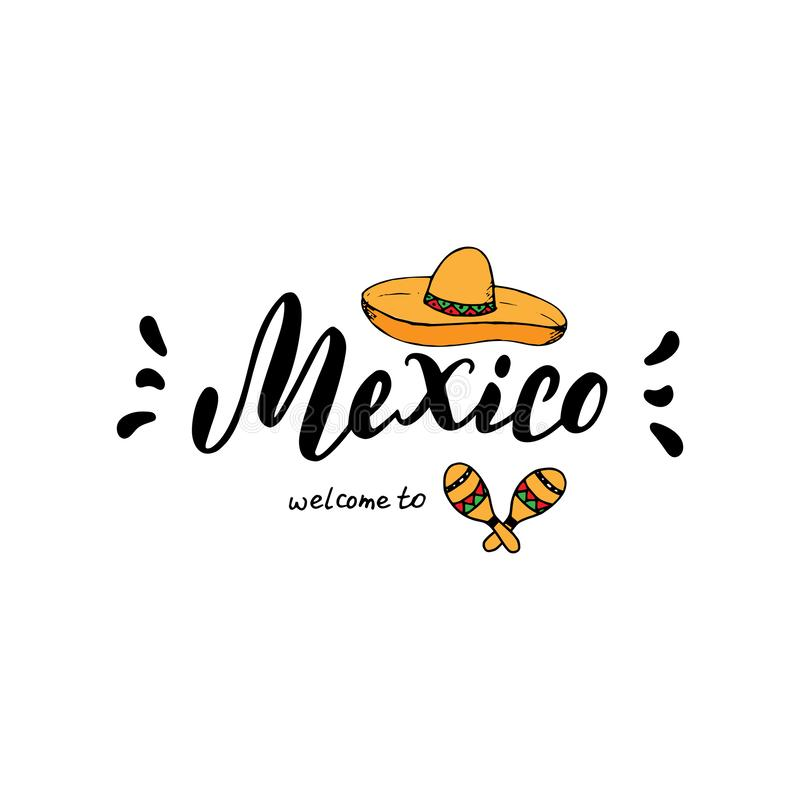 Mexico typography design template. Tourism website or brochure banner. Print for t-shirt, sticker, magnet, postcard design. stock illustration