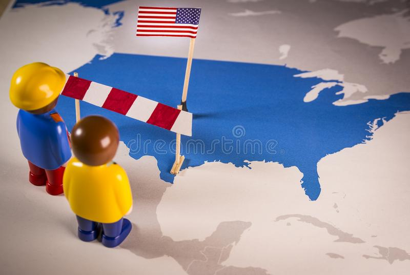 Mexico and USA border barrier. Concept of US-Mexican border wall as suggested by American president Donald Trump stock image