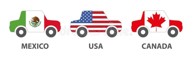 Mexico USA Kanada bilprodukter stock illustrationer