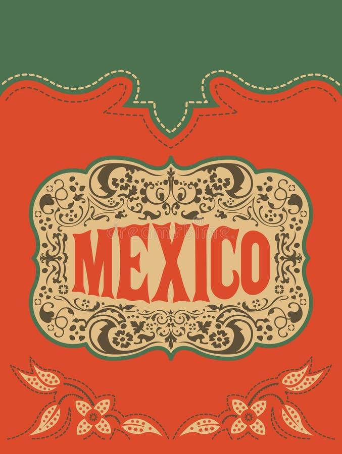 Mexico västra stil, mexikansk mall för kort för temavektoraffisch vektor illustrationer