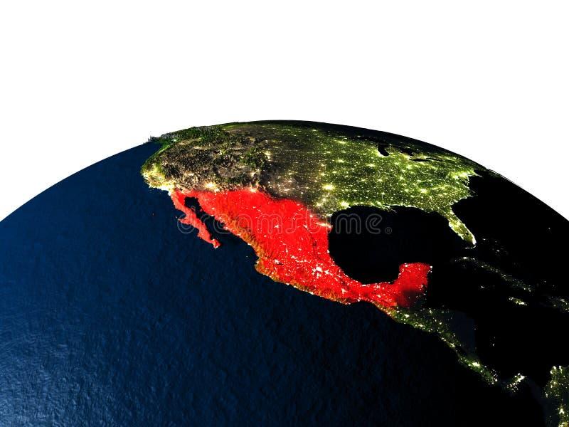 Mexico van ruimte bij nacht stock illustratie