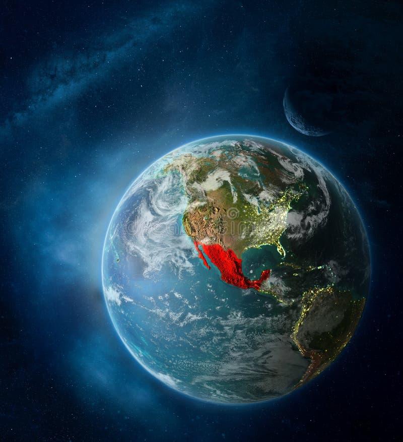 Mexico van ruimte op aarde stock illustratie