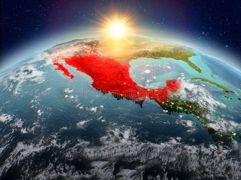 Mexico van ruimte in zonsopgang royalty-vrije illustratie