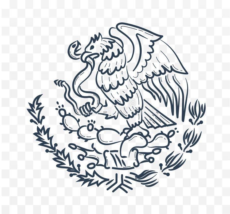 Mexico vapensköld stock illustrationer