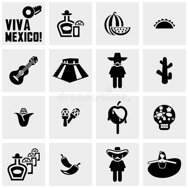 Mexico vector icons set on gray vector illustration