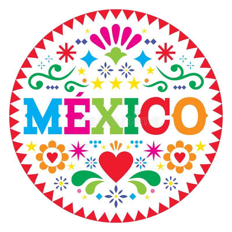 Mexico vector pattern, Mexican colorful folk art design, vibrant floral ornament royalty free illustration