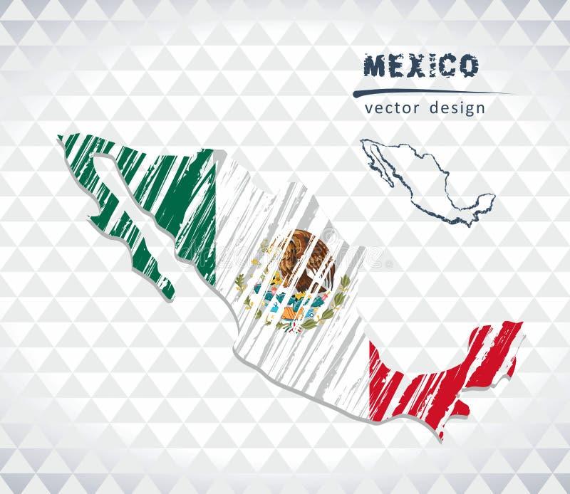 Mexico vektoröversikt med flaggainsidan som isoleras på en vit bakgrund Skissa drog illustrationen för krita handen royaltyfri illustrationer