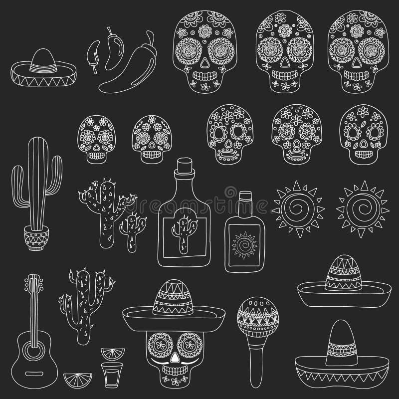 Mexico vektormodell död dag Symboler för affischer, baner, bakgrunder vektor illustrationer