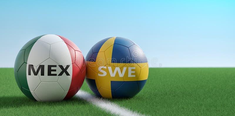 Mexico versus Het Voetbalgelijke van Zweden - Voetbalballen in de nationale kleuren van Mexicos en van Swedens op een voetbalgebi stock illustratie