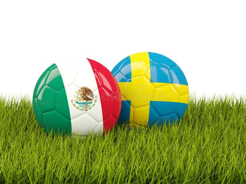 Mexico versus Zweden Het concept van het voetbal Voetballen met vlaggen op groen vector illustratie