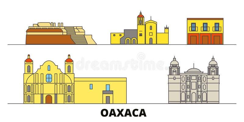 Mexico, vlakke de oriëntatiepunten vectorillustratie van Oaxaca Mexico, Oaxaca-lijnstad met beroemde reisgezichten, horizon, ontw vector illustratie