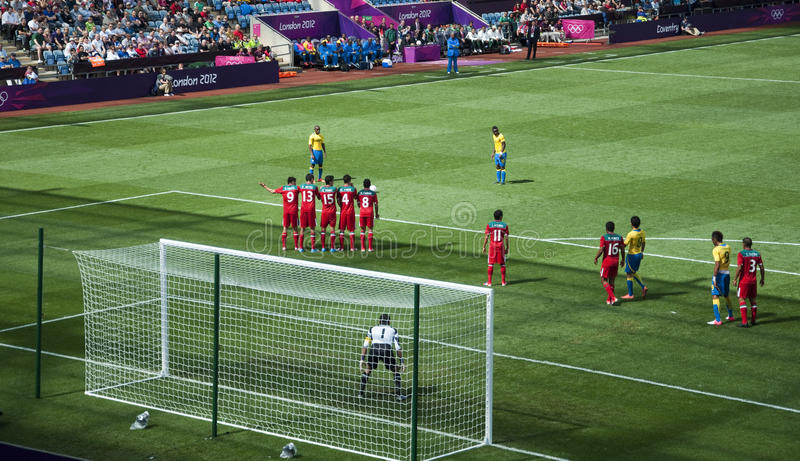 Mexico Vs Gabon in the 2012 London olympics stock photography