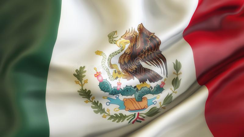 Mexico, Waiving Flag of Mexico, vector illustration