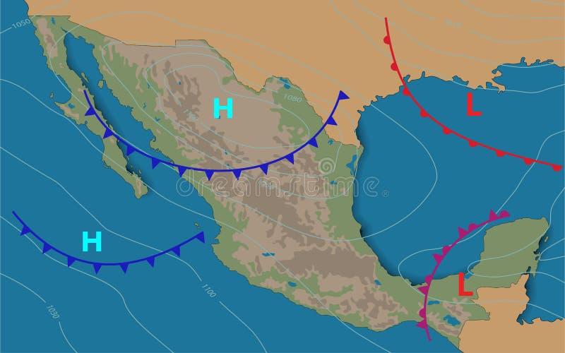mexico Weerkaart van Mexico Meteorologische Realistische voorspelling en de synoptische kaart van Editable van het tonen van het  stock illustratie