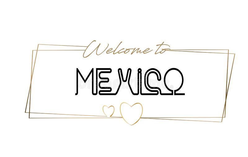 Mexico Welcome to text Neon lettering typography. Word for logotype, badge, icon, postcard, logo, banner Vector Illustration stock illustration