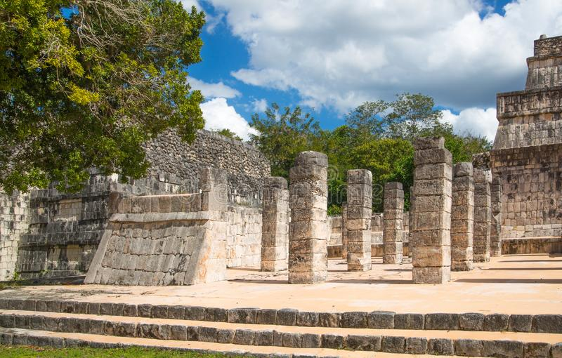 Mexico, Cancun. Chichen Itzá, Ruins of the Warriors temple. Originally created with One Thousand columns stock photography