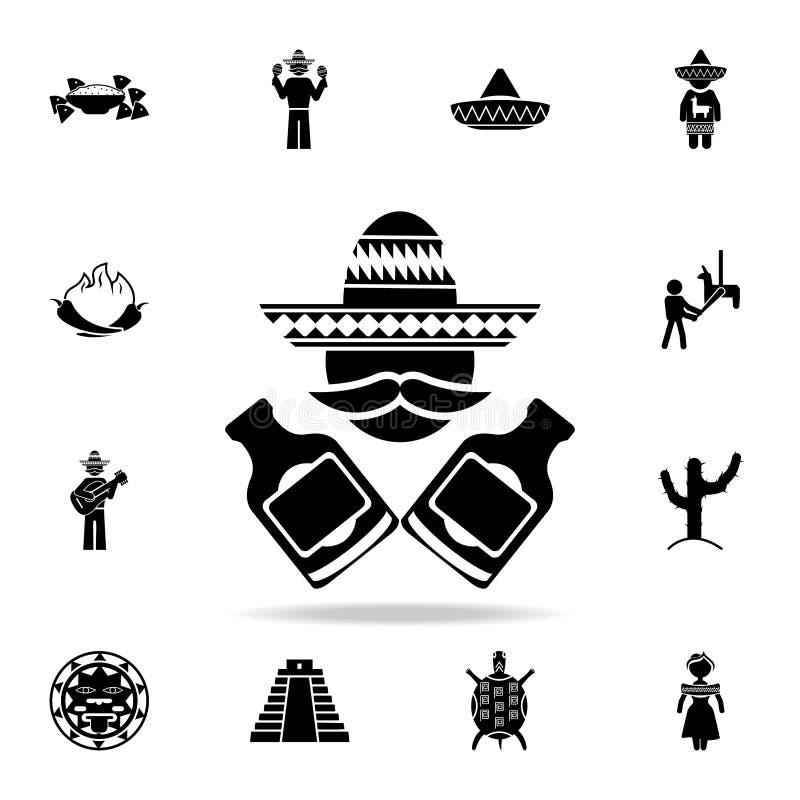 mexikan med flasksymbolen Detaljerad uppsättning av symboler för beståndsdelMexico kultur Högvärdig grafisk design En av samlings royaltyfri illustrationer