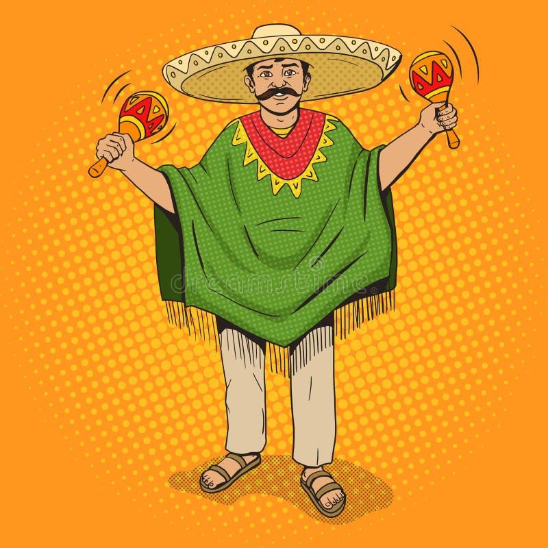 Mexikan med vektorn för stil för maracaspopkonst stock illustrationer