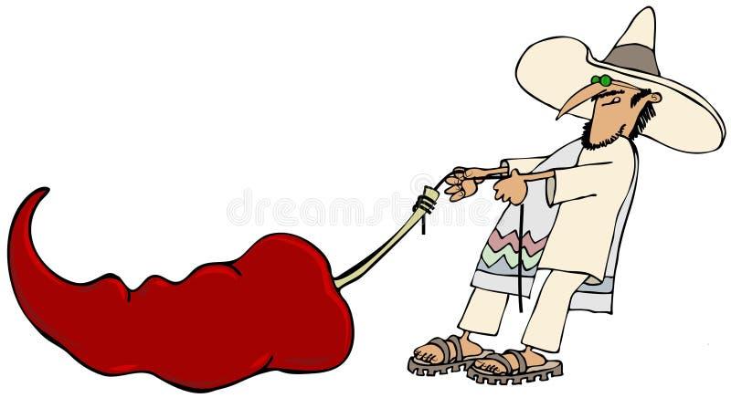 Mexikan som drar en jätte- peppar vektor illustrationer