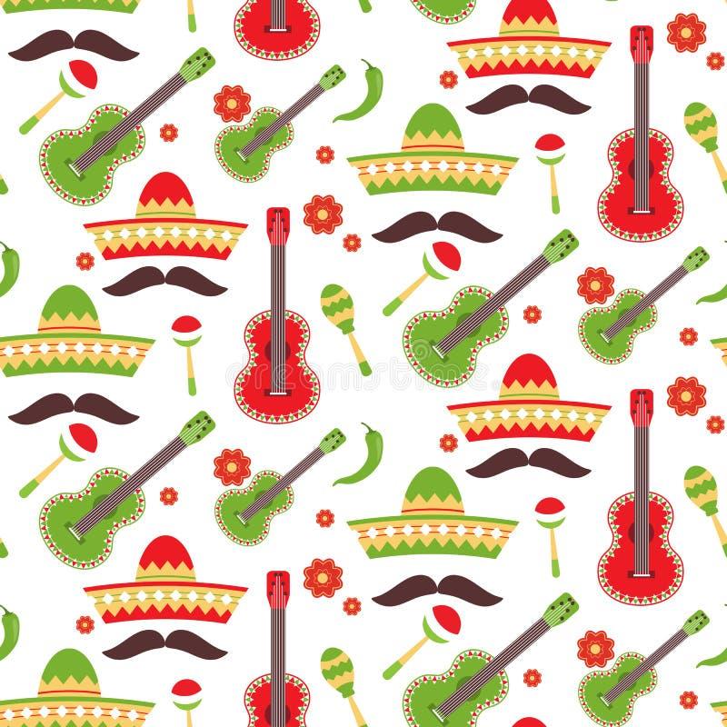 Mexikan som upprepar den sömlösa modellen Cinco de Mayo sömlöst tyg materiel royaltyfri illustrationer