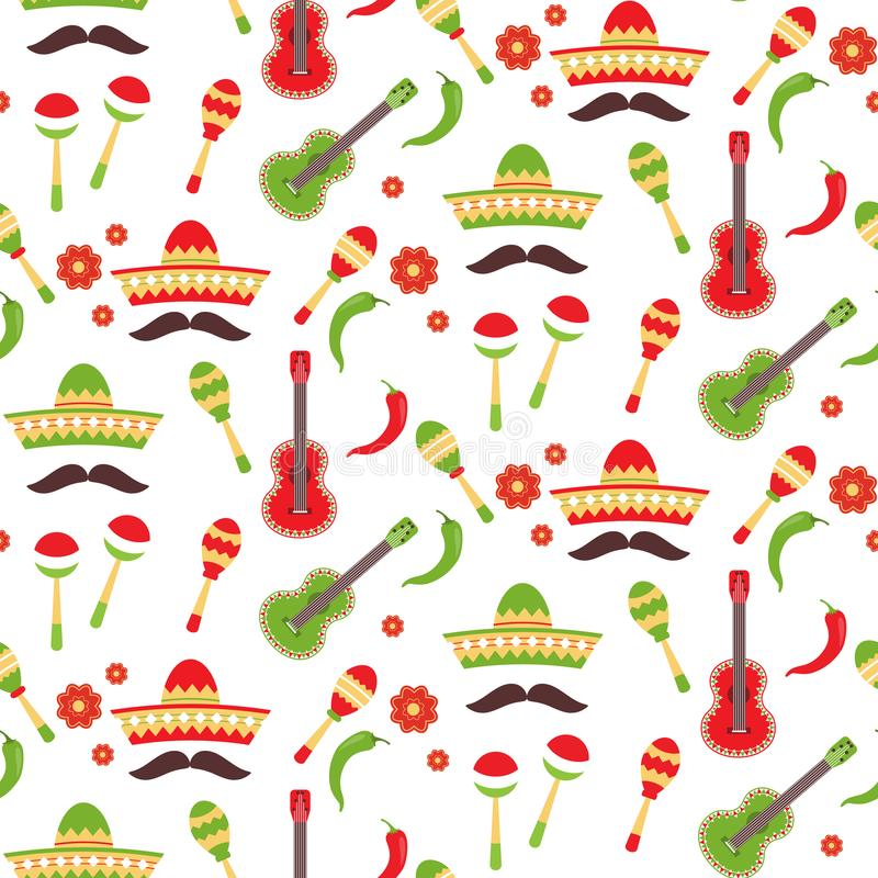 Mexikan som upprepar den sömlösa modellen Cinco de Mayo sömlöst tyg Materielvektor stock illustrationer