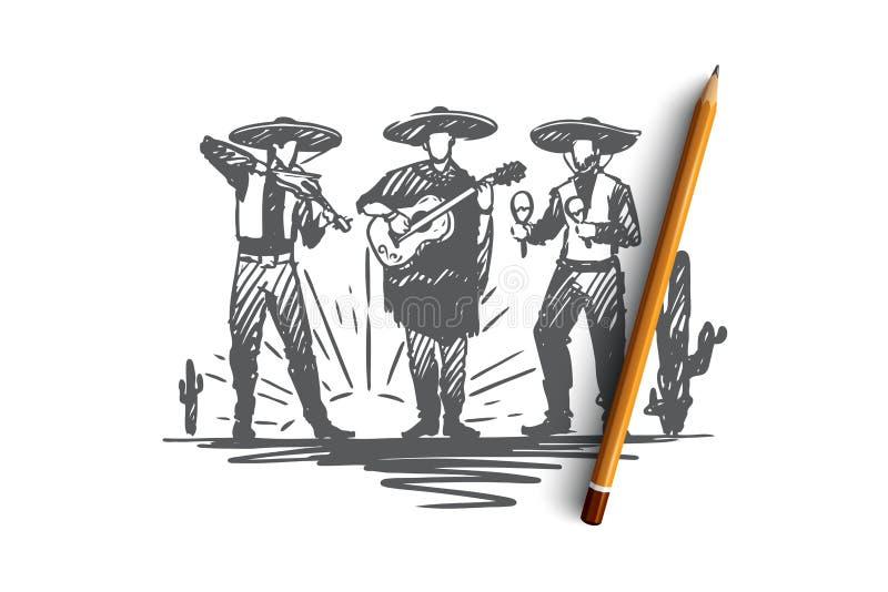Mexikan sombrero, cinco de mayo, feriebegrepp Hand dragen isolerad vektor royaltyfri illustrationer
