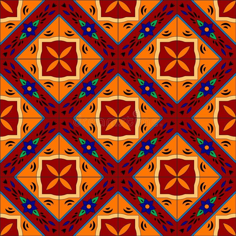 Mexikanen stiliserade talavera belägger med tegel den sömlösa modellen i rött och gult, vektor royaltyfri illustrationer