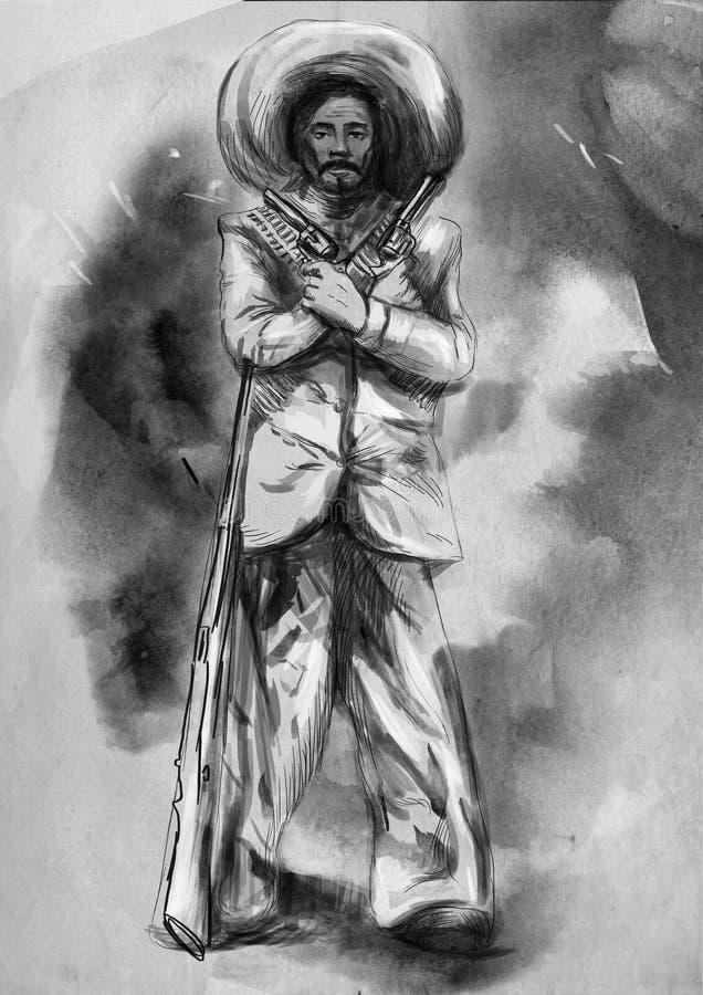 mexikanisch desperado Eine Hand gezeichnete Illustration, freihändiges sketchi stock abbildung