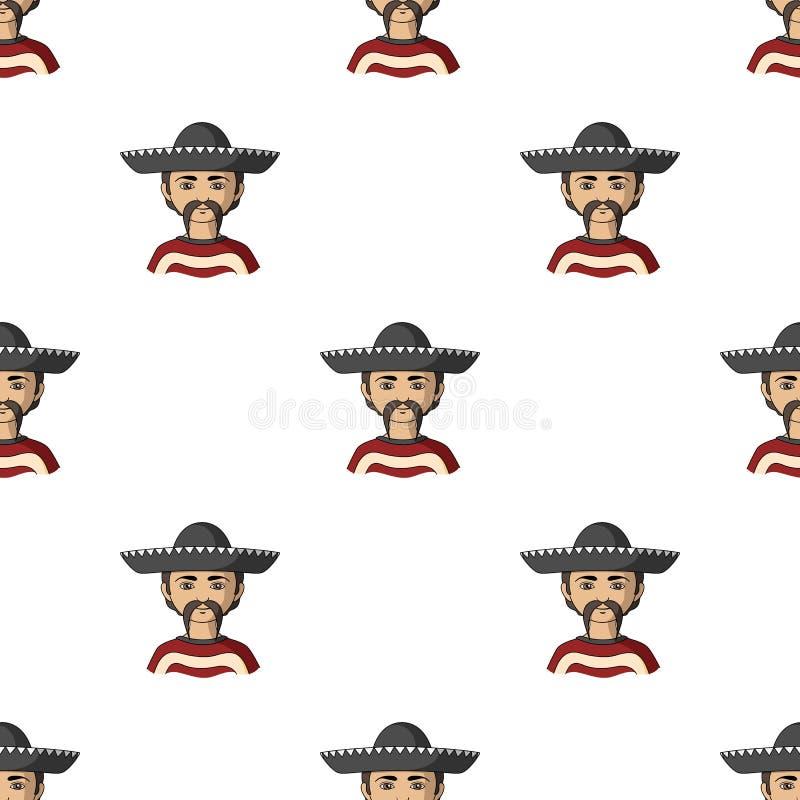 mexikanisch Einzelne Ikone der menschlichen Rasse in der Karikaturart vektor abbildung